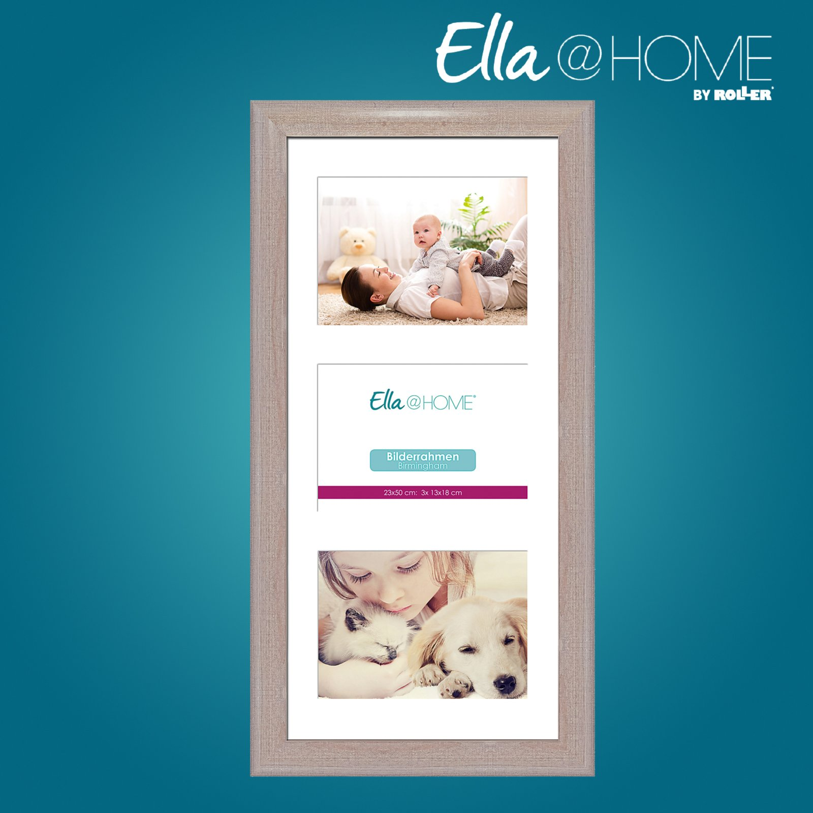bilderrahmen f r 3 fotos birmingham eiche 23x50 cm bilderrahmen deko wohnaccessoires. Black Bedroom Furniture Sets. Home Design Ideas