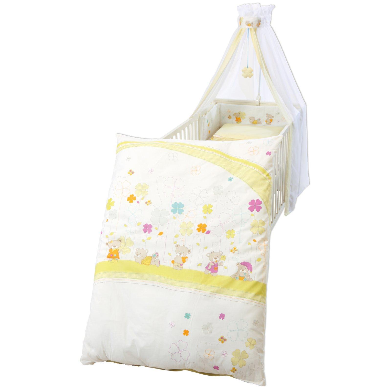 Kinderbettgarnitur Wei Gelb 4 Teilig