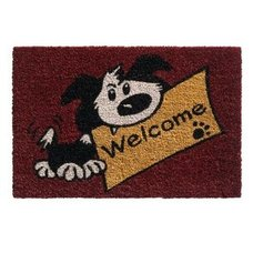 Kokos-Fußmatte - WELCOME DOG - rot - 40x60 cm