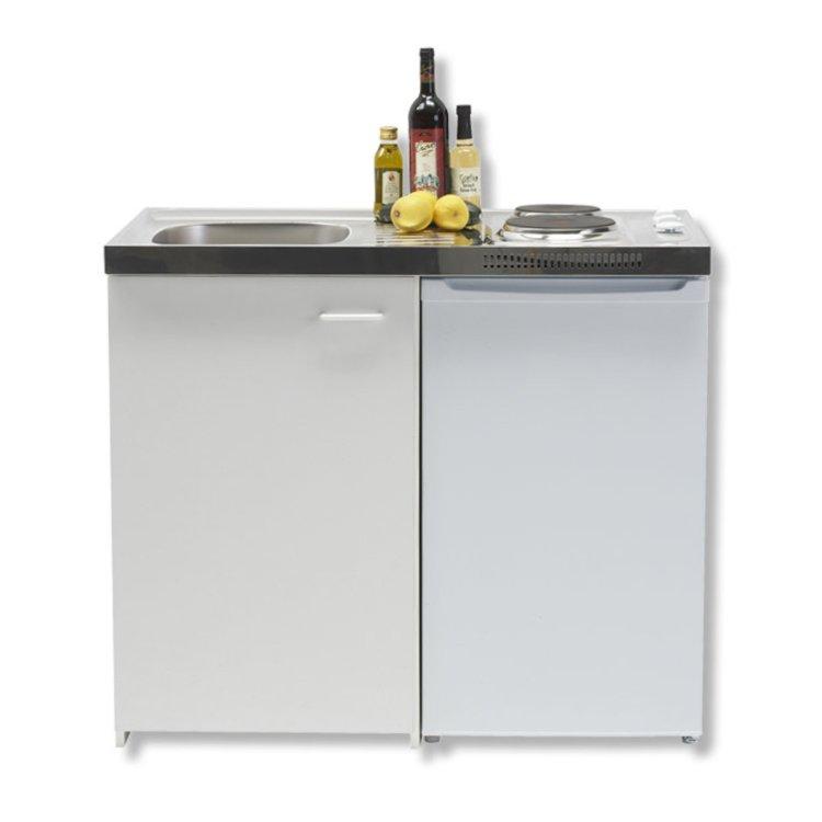 Bevorzugt Singleküche - weiß - mit Kühlschrank - 100 cm Breite | Online bei YI71