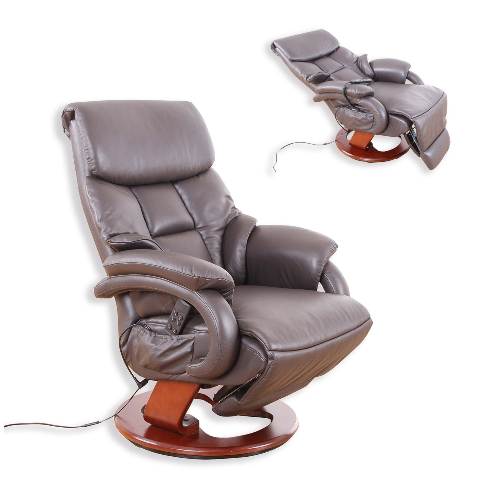 Vorschaubild von Leder-TV-Sessel - braun - Relaxfunktion