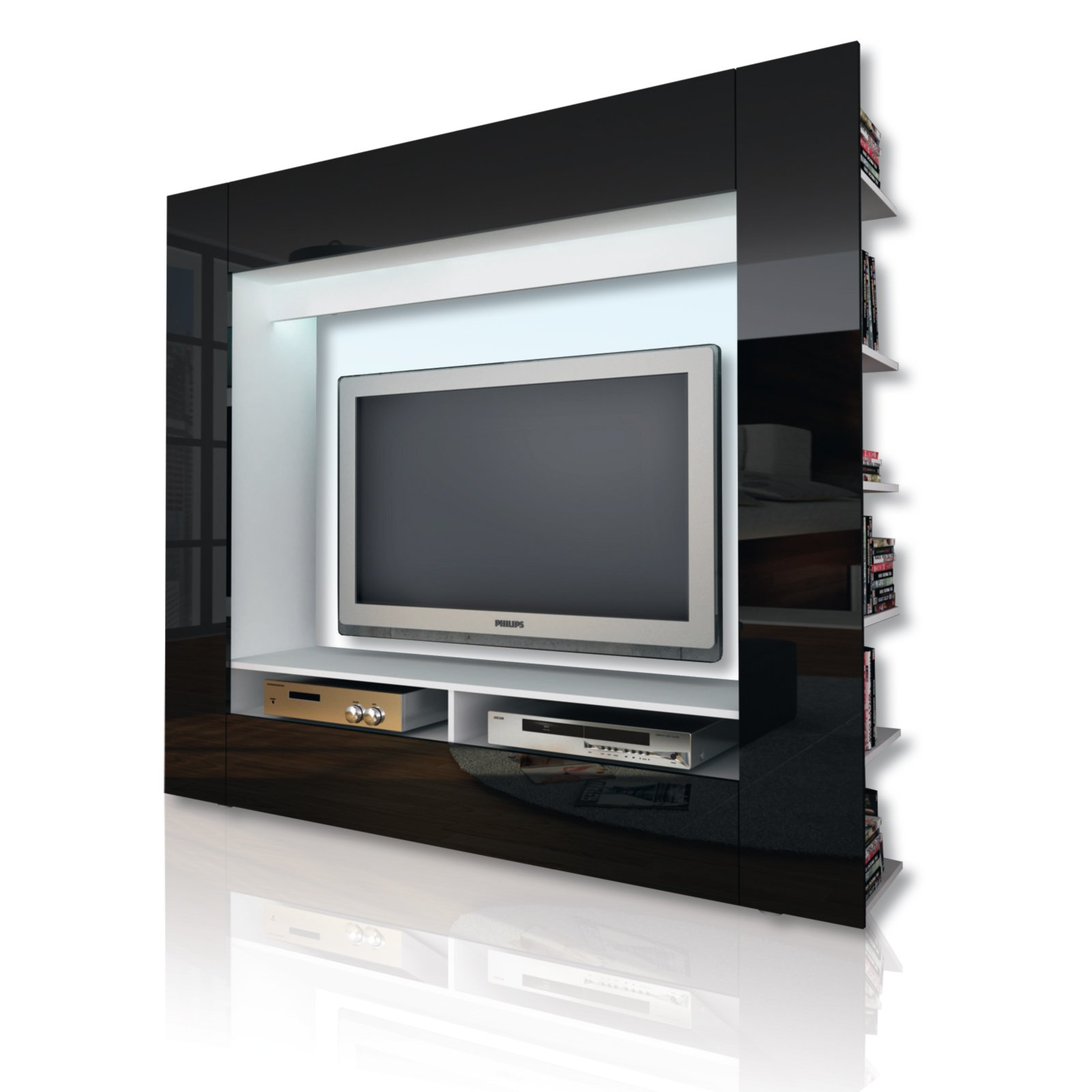 tv wand olli schwarz hochglanz tv w nde wohnw nde m bel m belhaus roller. Black Bedroom Furniture Sets. Home Design Ideas