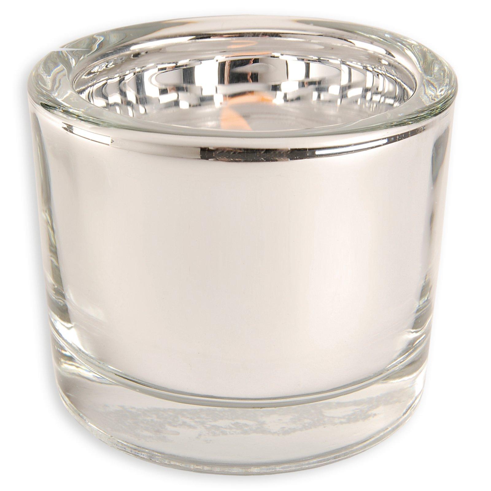 Glas-Windlicht - silber - Ø 6,5 - 5,7 cm hoch