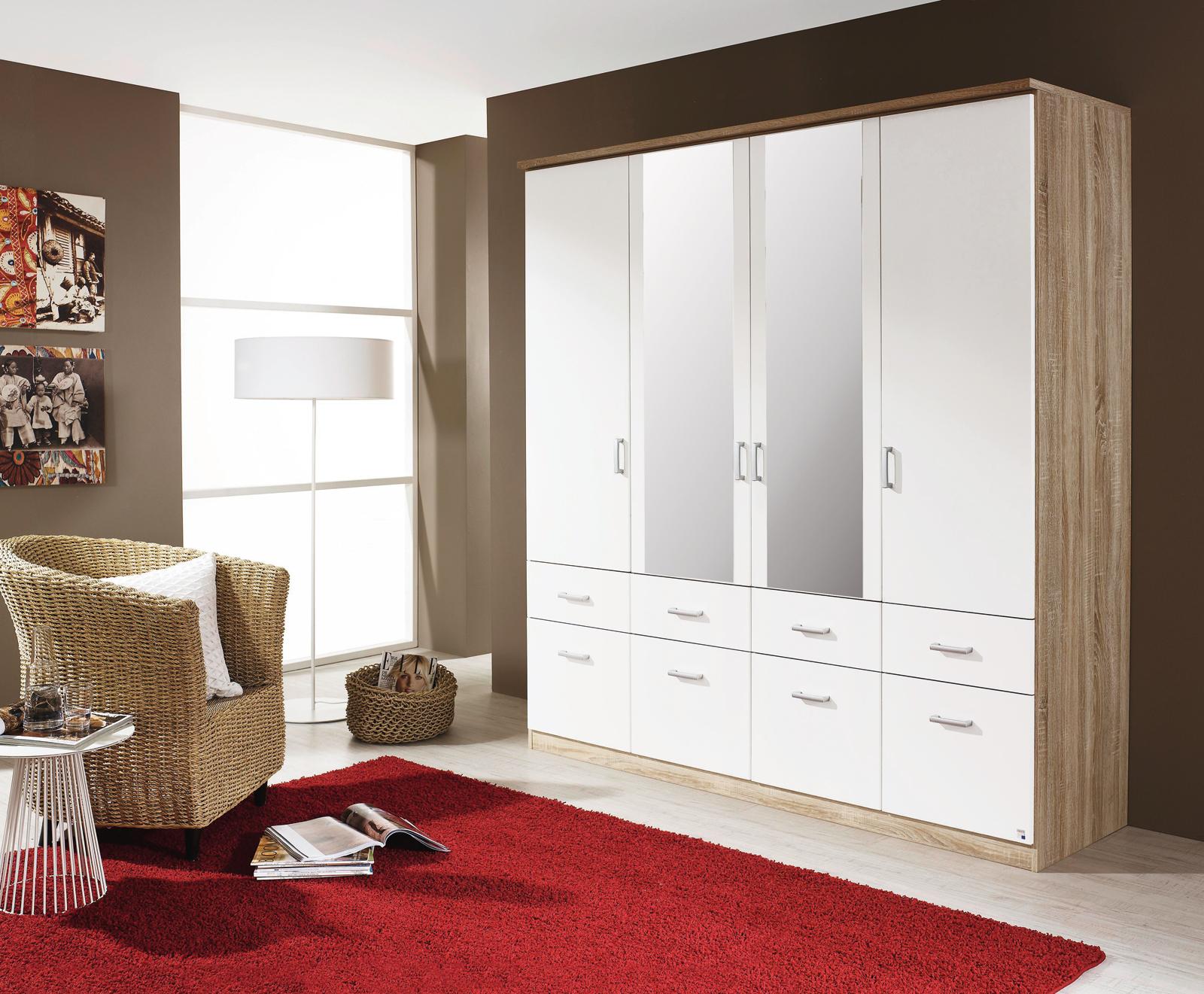 Kleiderschrank - Sonoma Eiche - weiß - 181 cm breit ...