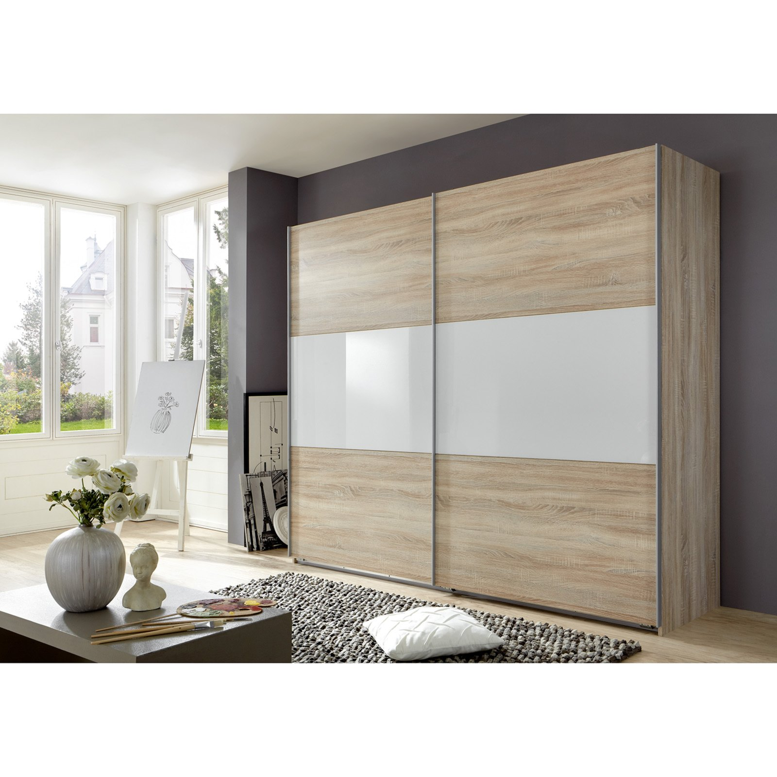 schwebet renschrank match up sonoma eiche wei 270 cm breit ebay. Black Bedroom Furniture Sets. Home Design Ideas