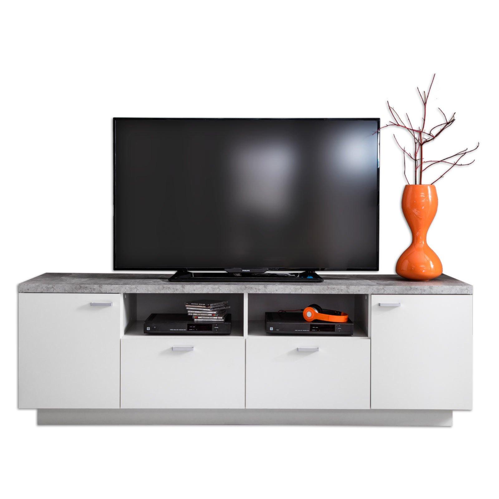 Lowboard 180 Cm Breit : tv lowboard center wei beton 180 cm breit online ~ Watch28wear.com Haus und Dekorationen