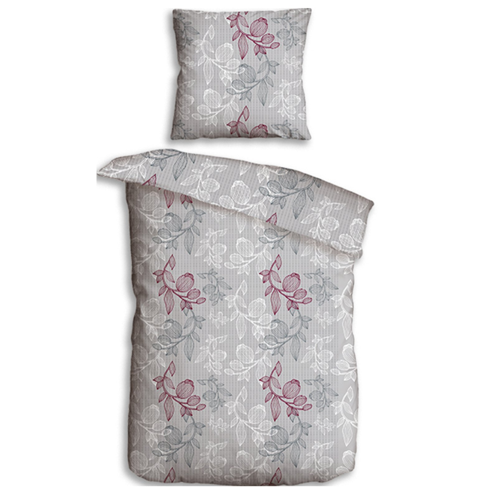 microfaser seersucker bettw sche blume 135x200 cm. Black Bedroom Furniture Sets. Home Design Ideas