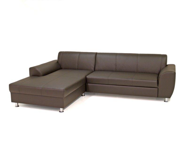 ecksofa dunkelbraun kunstleder recamiere links. Black Bedroom Furniture Sets. Home Design Ideas