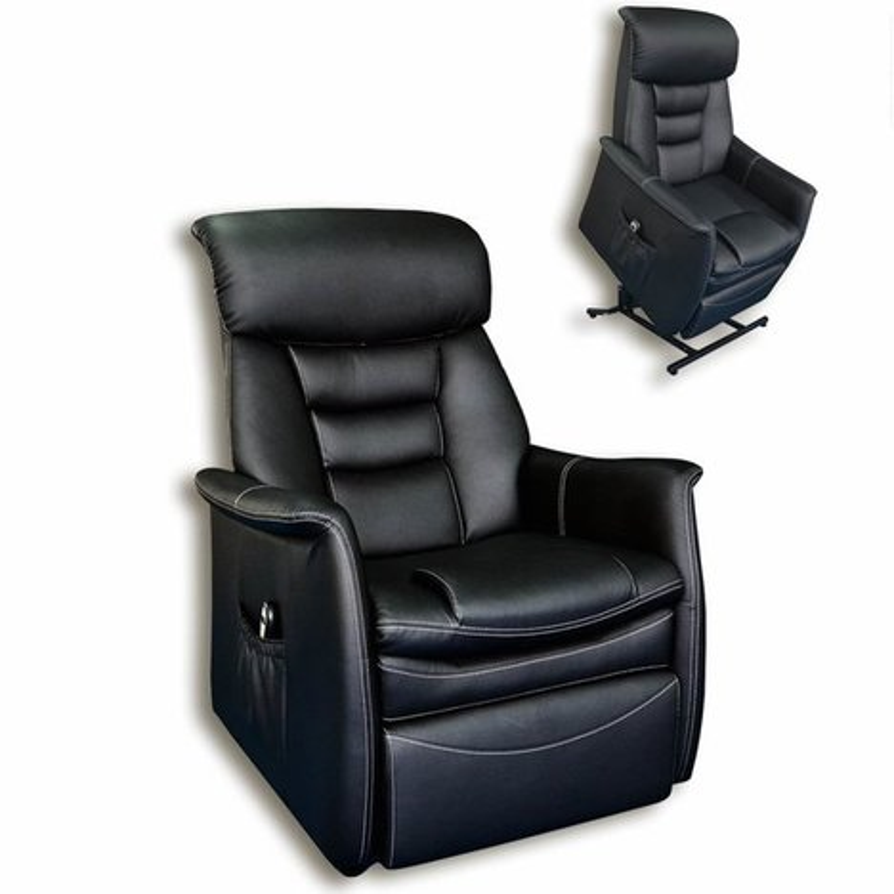 tv sessel schwarz kunstleder aufstehhilfe fernseh relaxsessel sessel hocker. Black Bedroom Furniture Sets. Home Design Ideas