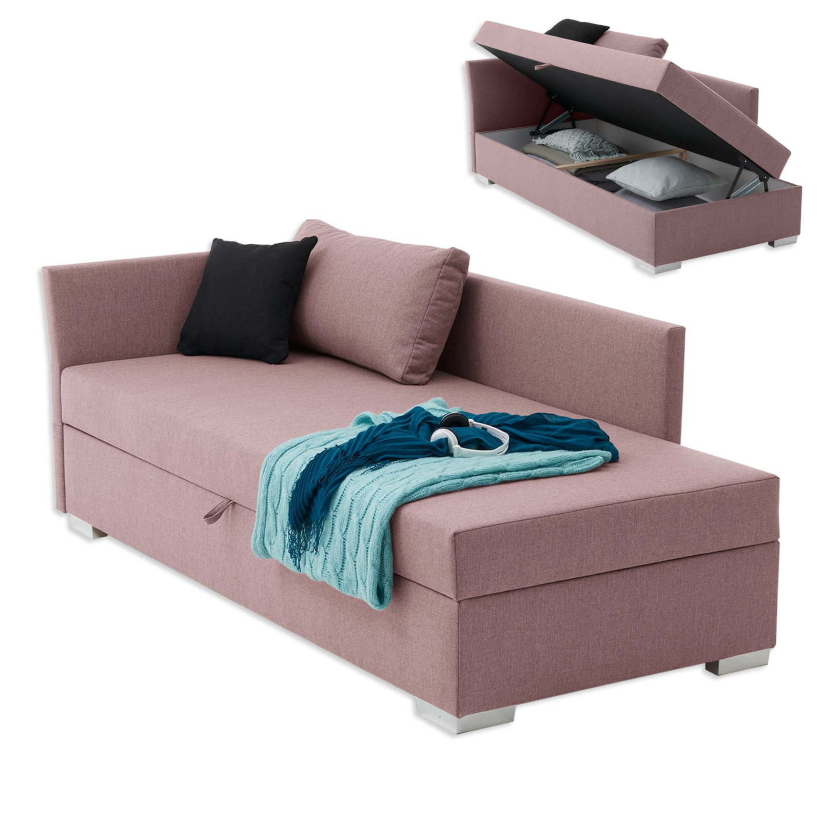 polsterliege havana rosa 90x200 cm mit staukasten. Black Bedroom Furniture Sets. Home Design Ideas