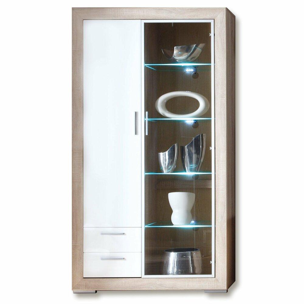 vitrine fernando sonoma eiche wei led beleuchtung vitrinen wohnzimmer wohnbereiche. Black Bedroom Furniture Sets. Home Design Ideas