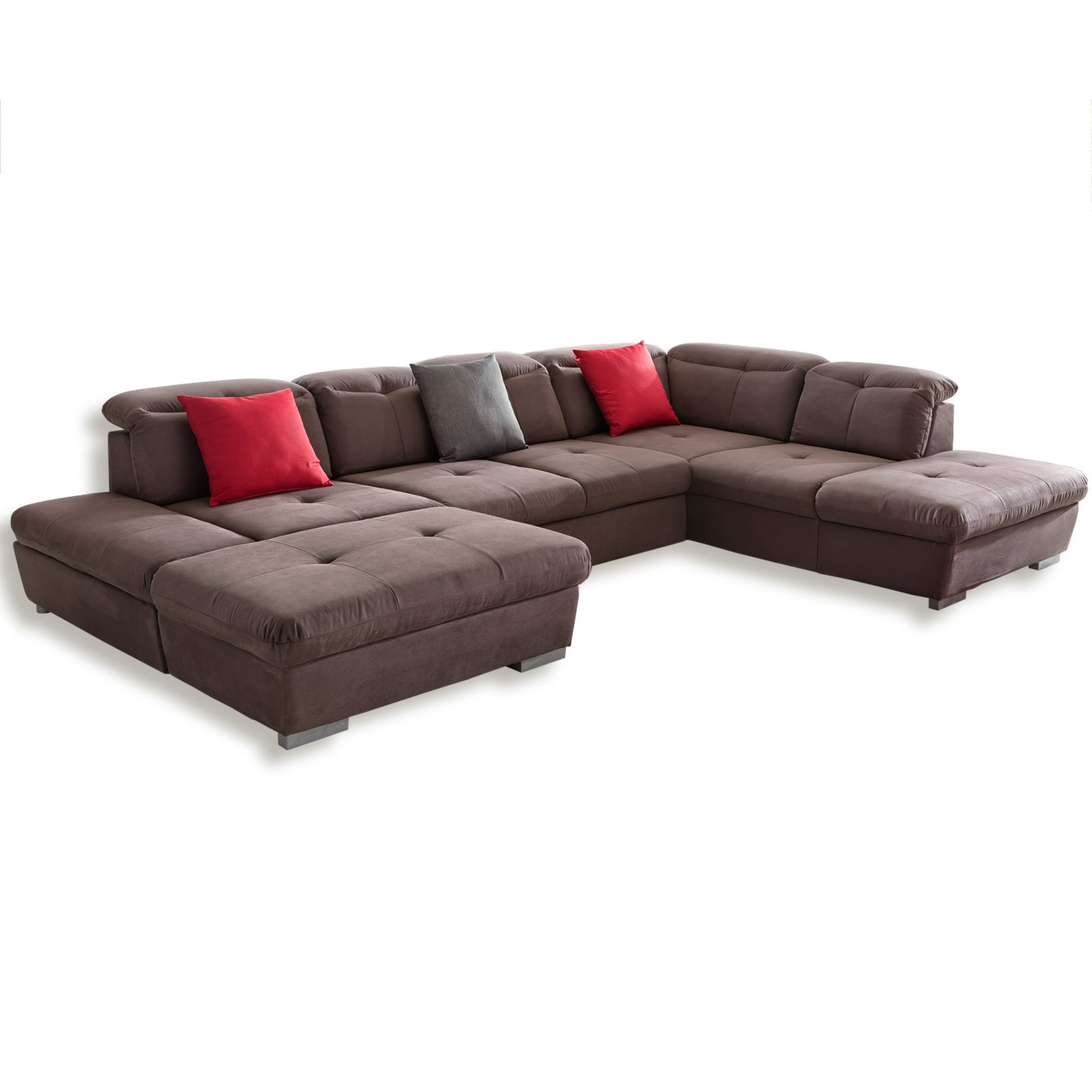 wohnlandschaft braun ottomane rechts. Black Bedroom Furniture Sets. Home Design Ideas