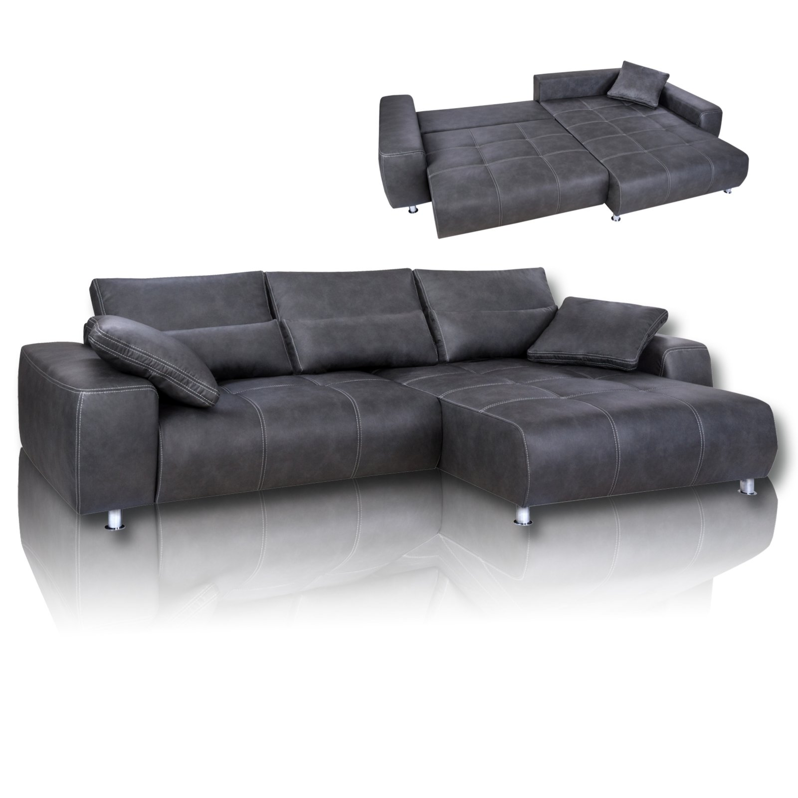 ecksofa anthrazit mit liegefunktion ecksofas l form sofas couches m bel roller. Black Bedroom Furniture Sets. Home Design Ideas