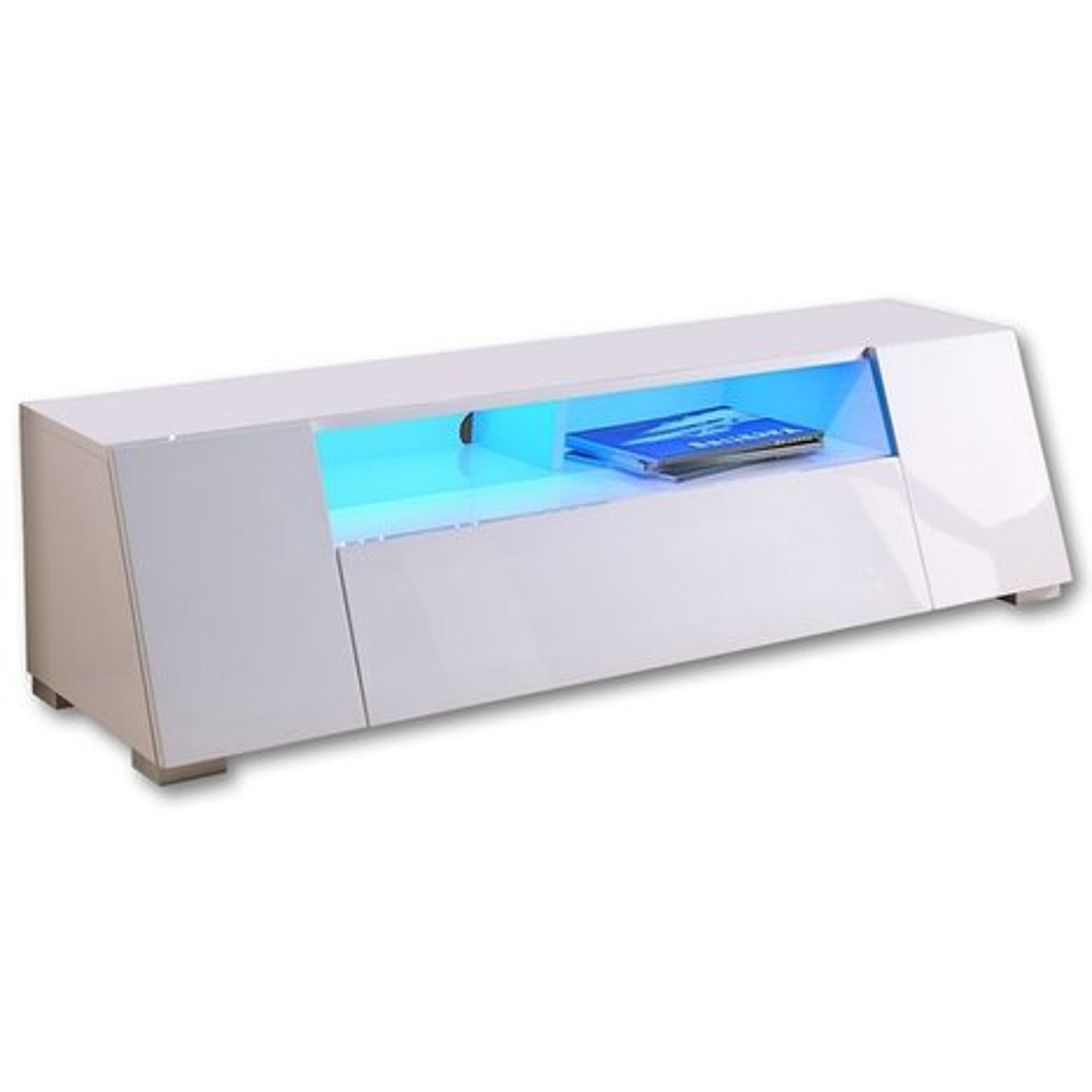 lowboard wei led beleuchtung 160 cm breit tv. Black Bedroom Furniture Sets. Home Design Ideas
