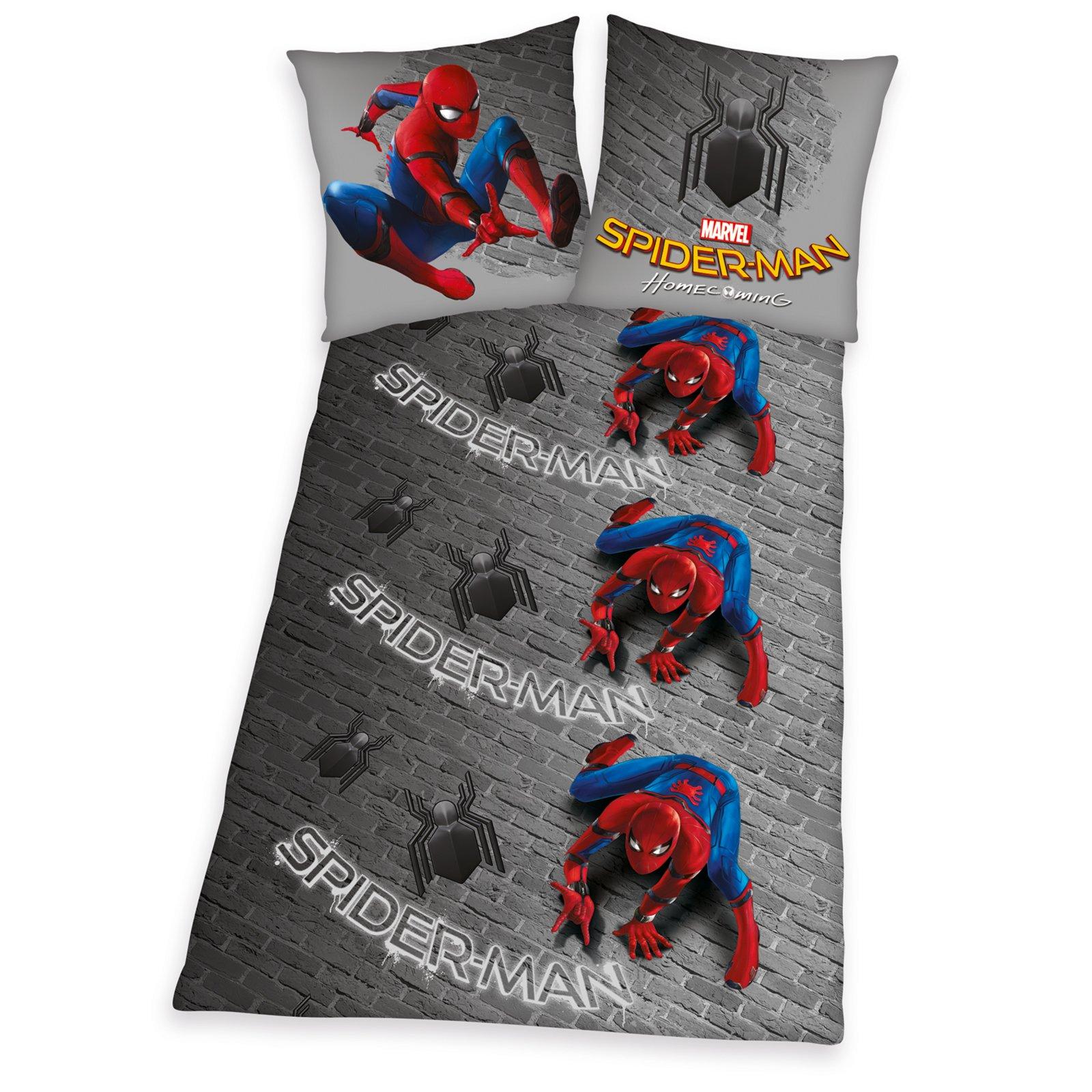 Microfaser Bettwäsche Spiderman Grau 135x200 Cm Online Bei