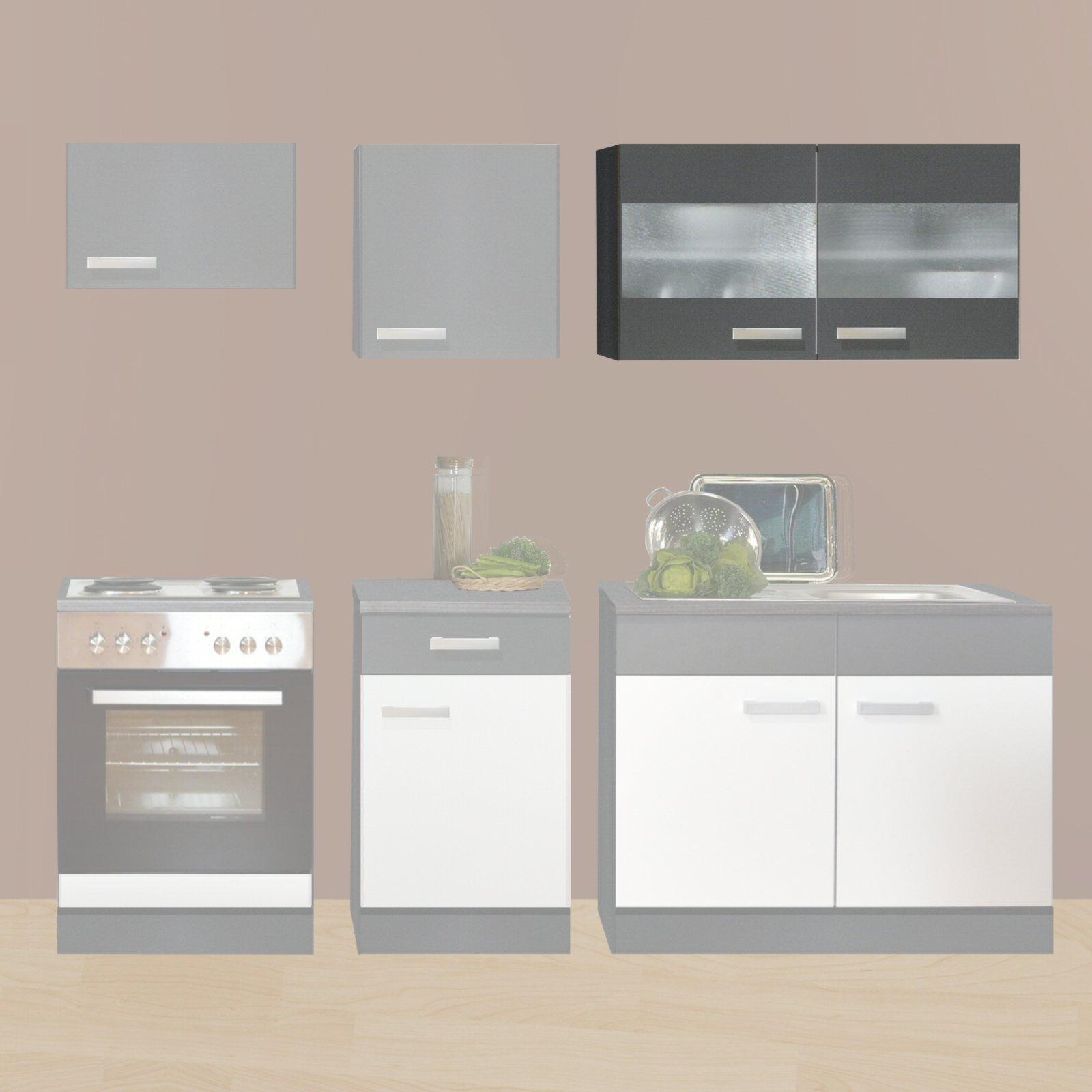 Hängeschrank küche  Hängeschrank GRETA - graphit - Glastüren - 100x64 cm | Küche GRETA ...