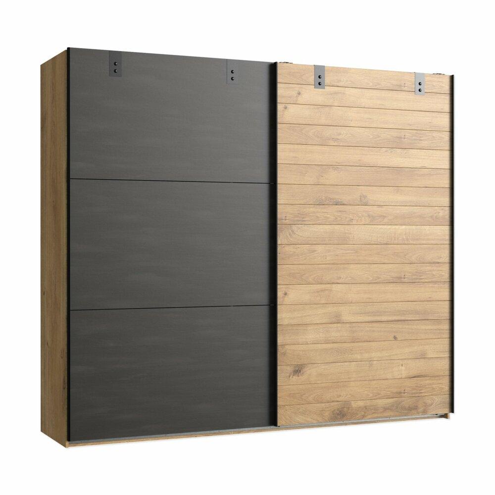 schwebet renschrank plankeneiche stahlgrau 250 cm. Black Bedroom Furniture Sets. Home Design Ideas