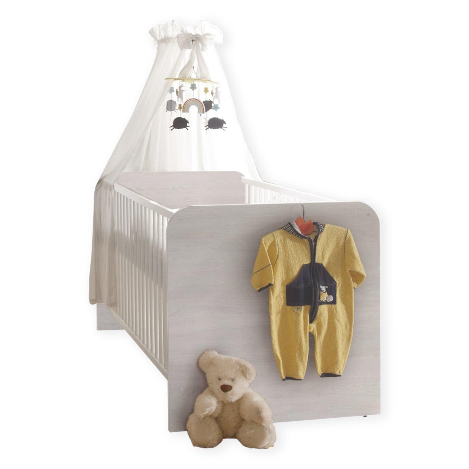 babybett luca pinie wei tr ffel 70x140 cm babybetten kinderbetten betten m bel. Black Bedroom Furniture Sets. Home Design Ideas