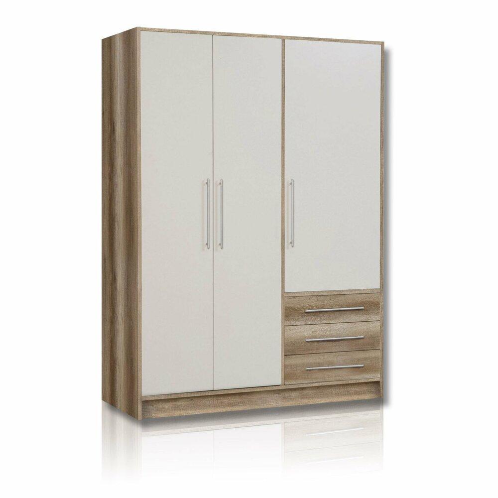 Kleiderschrank JUPITER - Eiche-weiß - 3 Schubladen - 145 cm breit ...