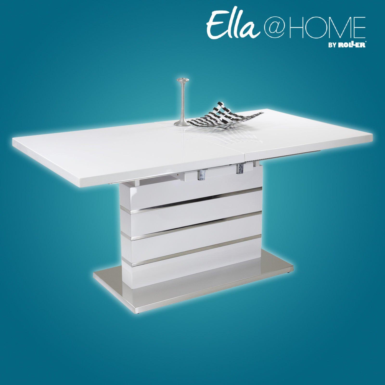 Esstisch KARLA - weiß Hochglanz - ausziehbar | eBay