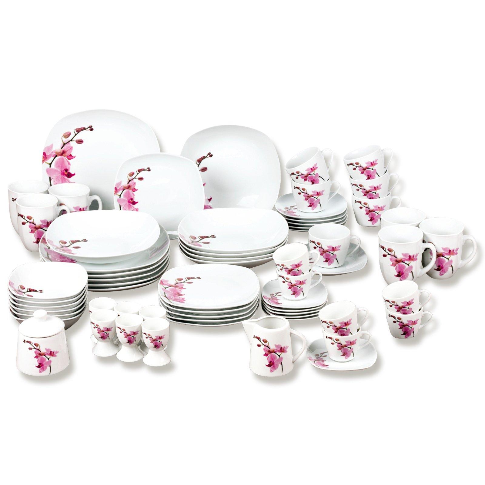 62 teiliges kombiservice kyoto wei rosa eckig geschirr haushalts k chenzubeh r. Black Bedroom Furniture Sets. Home Design Ideas