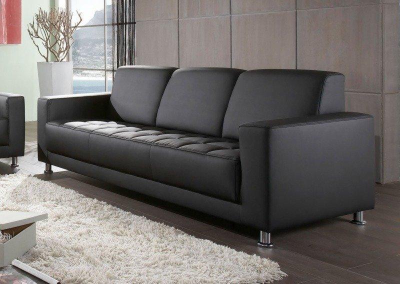 3 Sitzer Sofa Schwarz Kunstleder Einzelsofas 2er 3er 4er