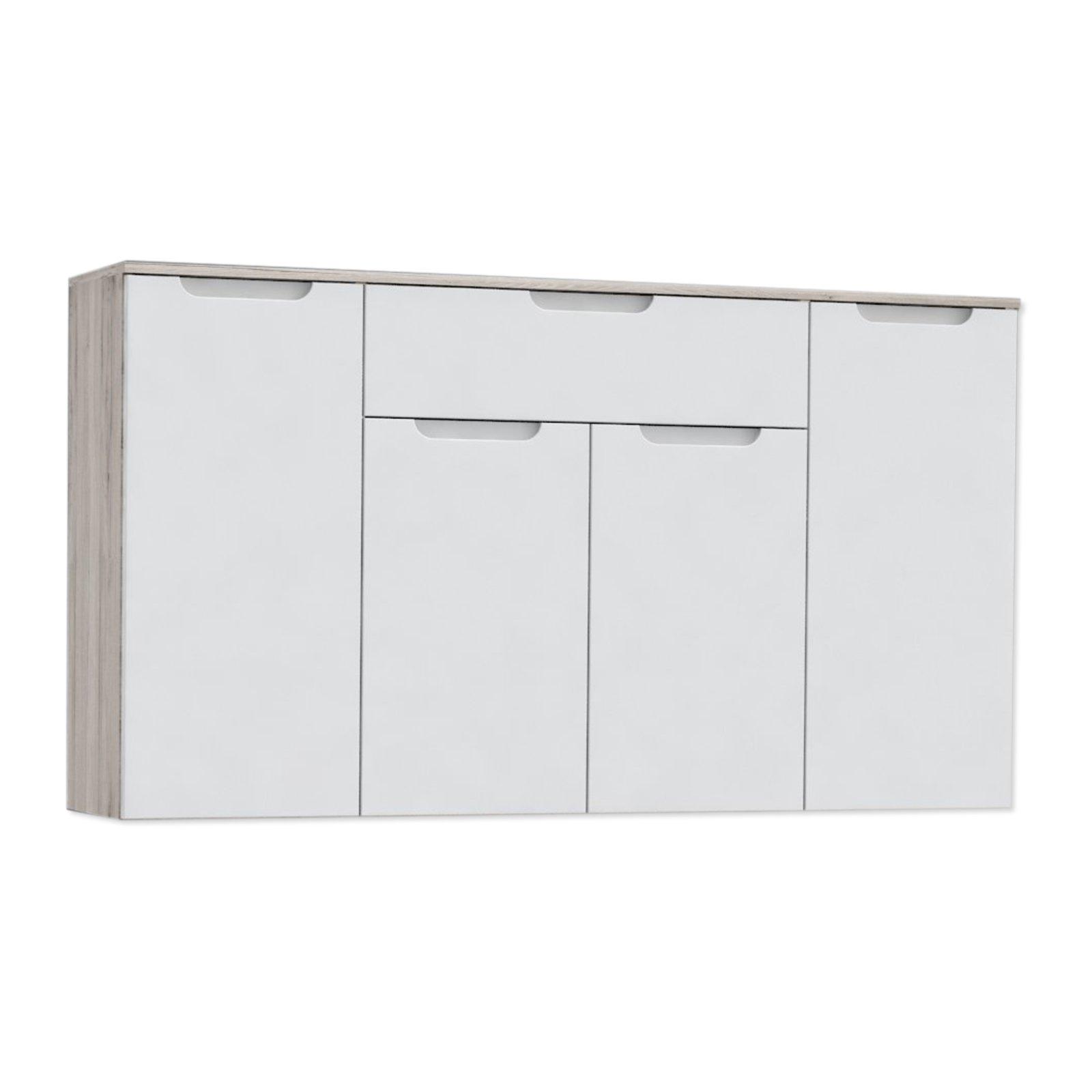 kommode moreno orek wei hochglanz sandeiche 139 cm. Black Bedroom Furniture Sets. Home Design Ideas