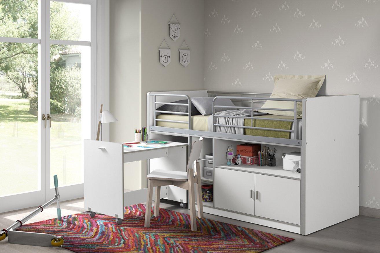 Funktions-Hochbett BONNY - weiß - mit Schreibtisch - 90x200 cm