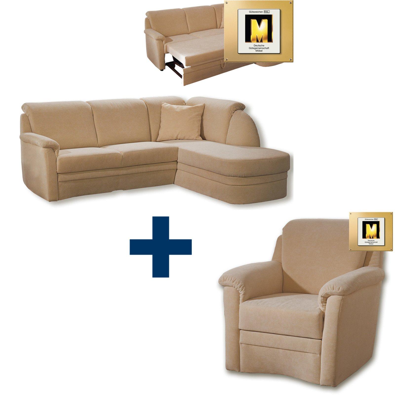 set freiburg ecksofa mit sessel beige mit. Black Bedroom Furniture Sets. Home Design Ideas