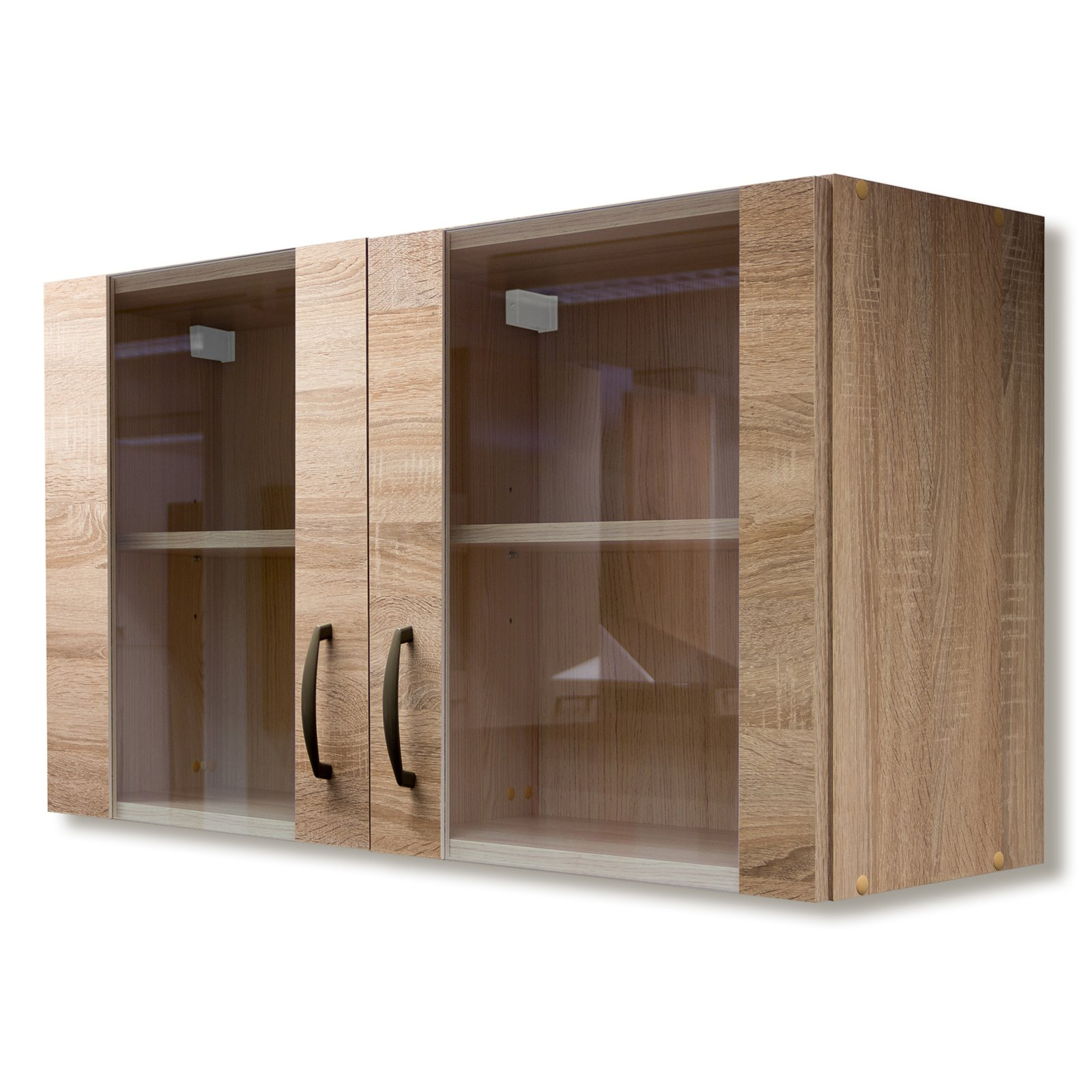 glas h ngeschrank oslo sonoma eiche 100 cm breit. Black Bedroom Furniture Sets. Home Design Ideas