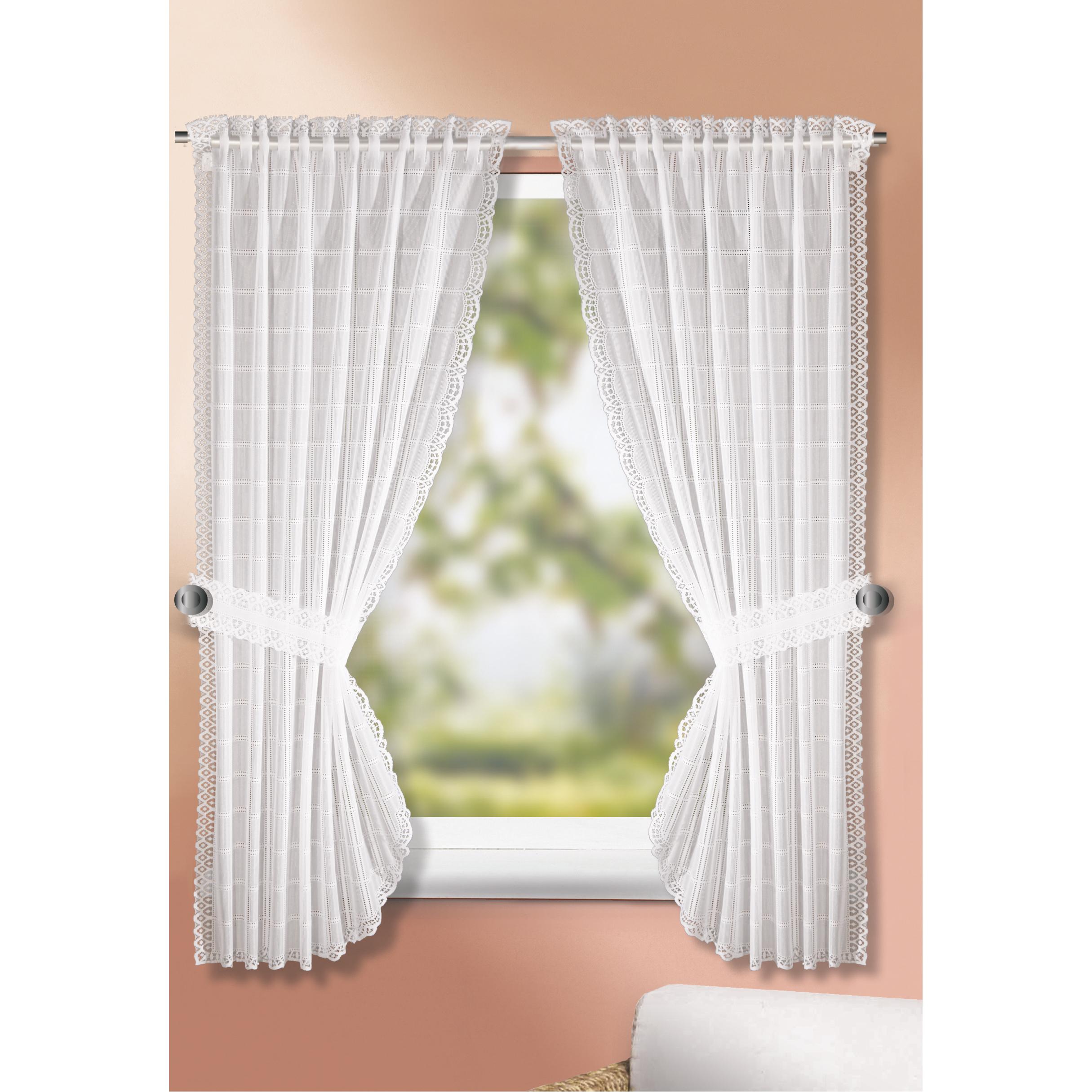 Landhausgardinen-Set - weiß - 90x160 cm