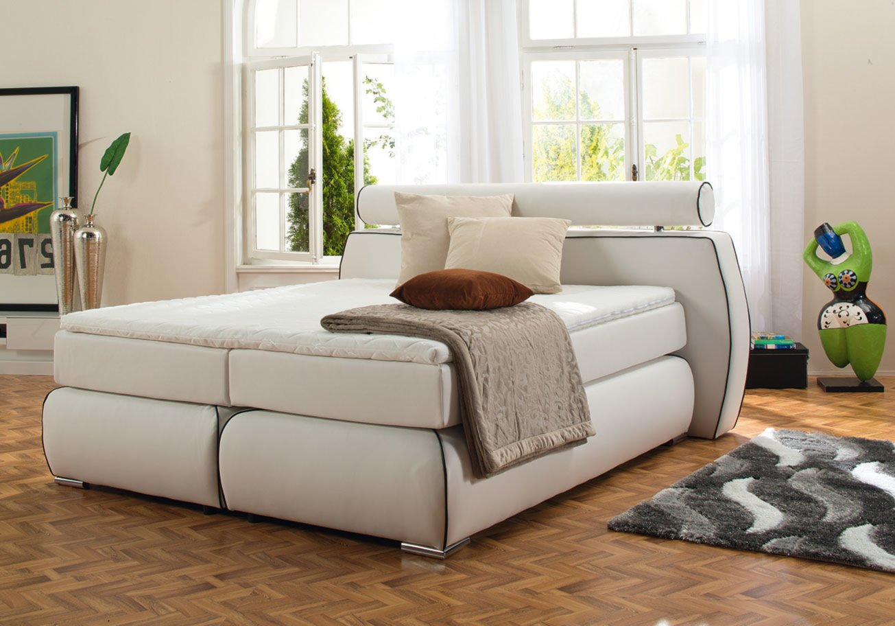 boxspringbett cannes wei viscotopper 180x200 cm h2 ebay. Black Bedroom Furniture Sets. Home Design Ideas