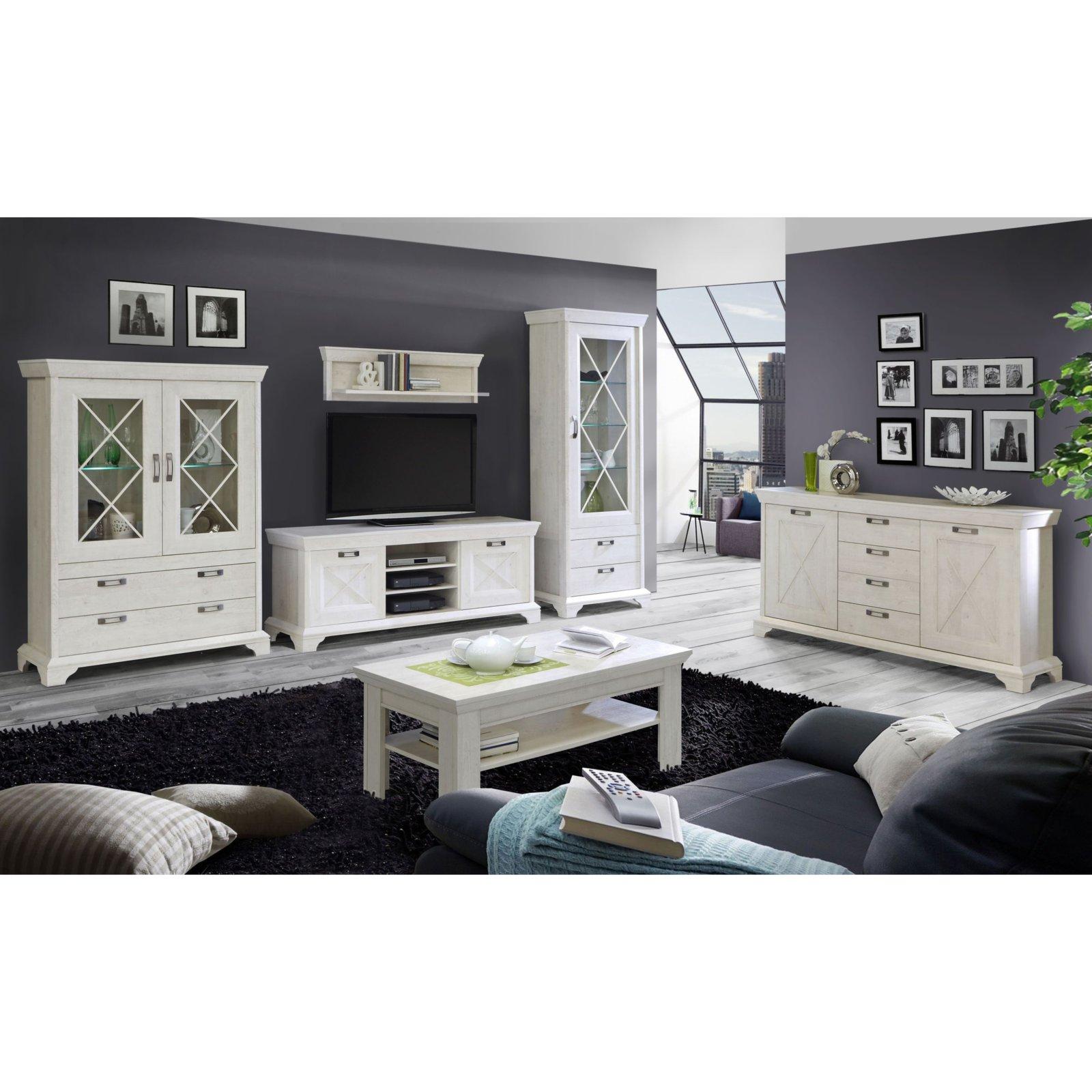 vitrine hoch kashmir pinie wei mit beleuchtung ebay. Black Bedroom Furniture Sets. Home Design Ideas