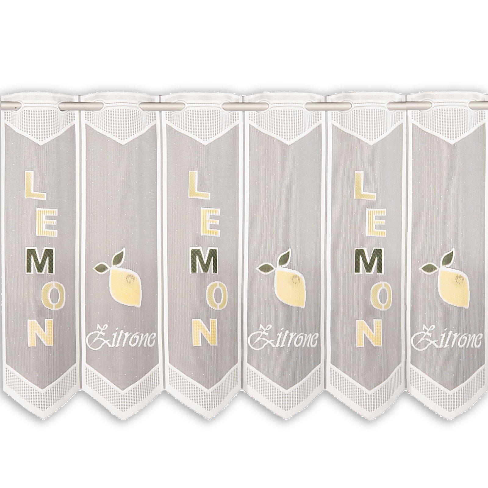 scheibengardine zitrone gelb gr n 150x45 cm. Black Bedroom Furniture Sets. Home Design Ideas