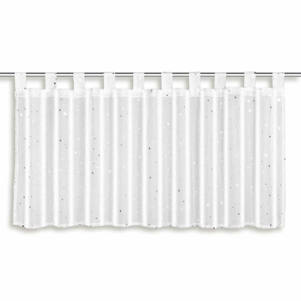 scheibengardine sterne wei 140x45 cm scheibengardinen gardinen vorh nge deko. Black Bedroom Furniture Sets. Home Design Ideas