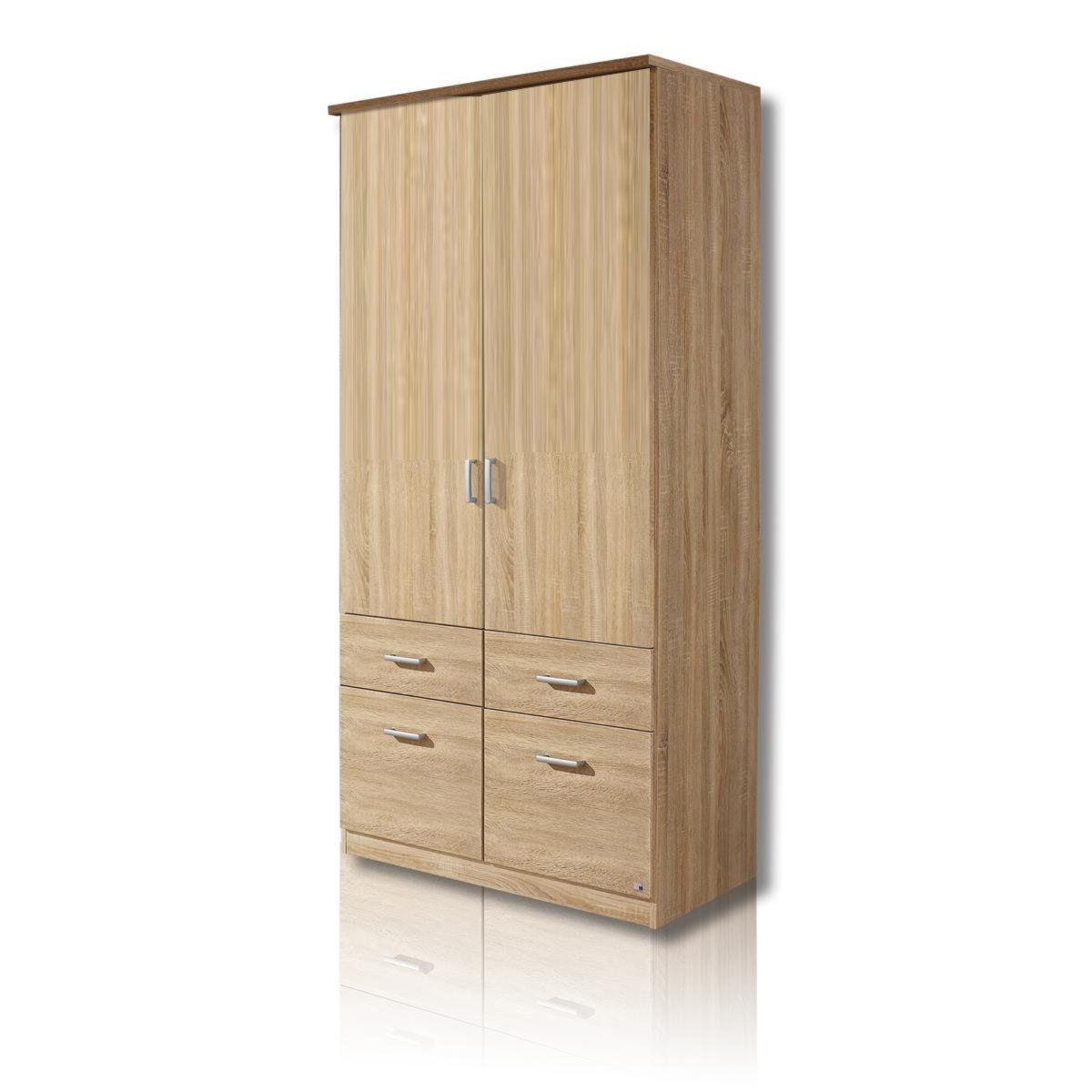 kleiderschrank bremen sonoma eiche 91 cm breit 4 schubk sten dreht renschr nke. Black Bedroom Furniture Sets. Home Design Ideas