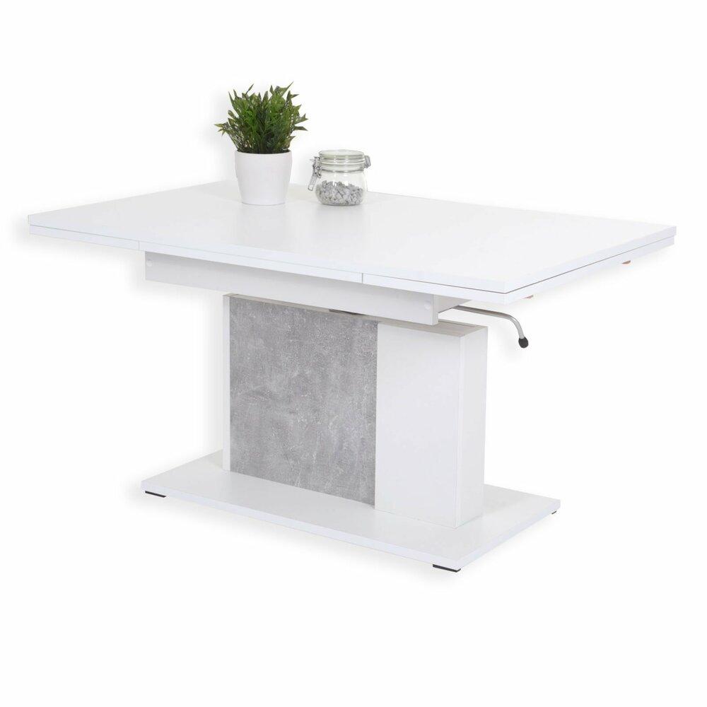 couchtisch linus wei betonoptik h henverstellbar ausziehbar. Black Bedroom Furniture Sets. Home Design Ideas