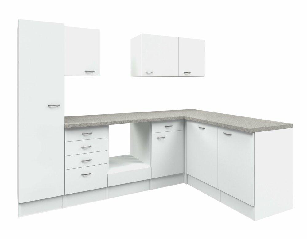 winkelk che wito wei grau 270x170 cm winkelk chen ohne e ger te k chenzeilen m bel. Black Bedroom Furniture Sets. Home Design Ideas