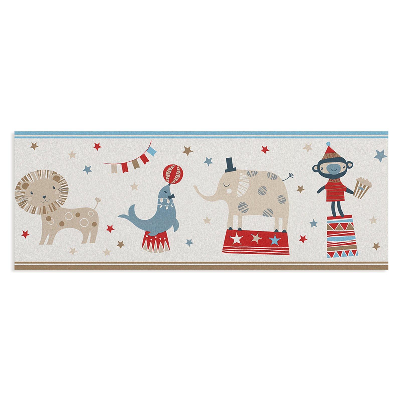 Tapetenbord re zirkus papier 5 meter kindertapeten for Roller tapeten