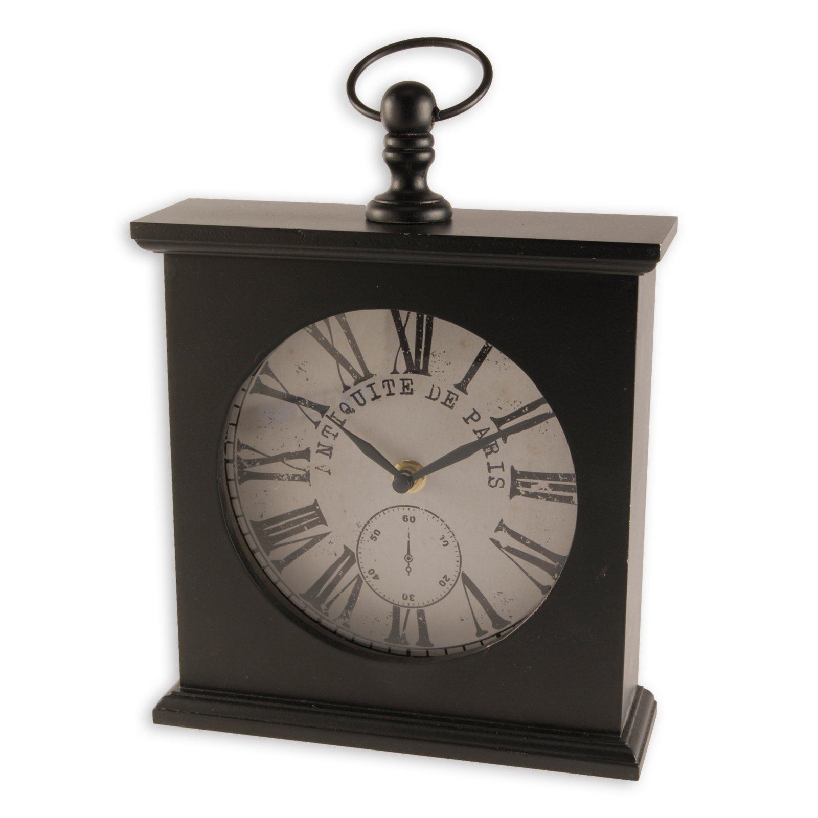 tischuhr schwarz metall tischuhren uhren deko haushalt roller m belhaus. Black Bedroom Furniture Sets. Home Design Ideas