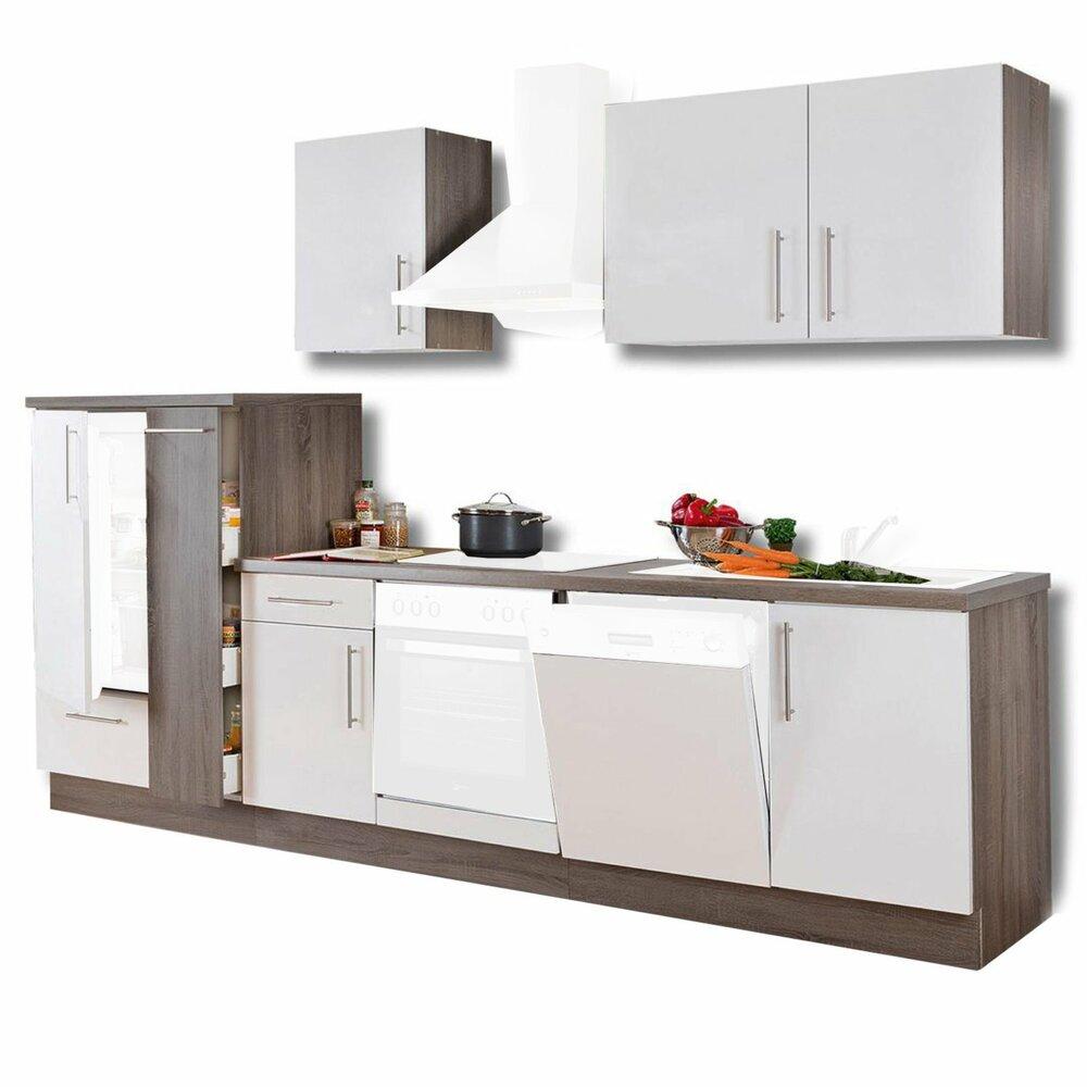 k chenblock julia wei hochglanz tr ffel 310 cm k chenzeilen ohne e ger te k chenzeilen. Black Bedroom Furniture Sets. Home Design Ideas