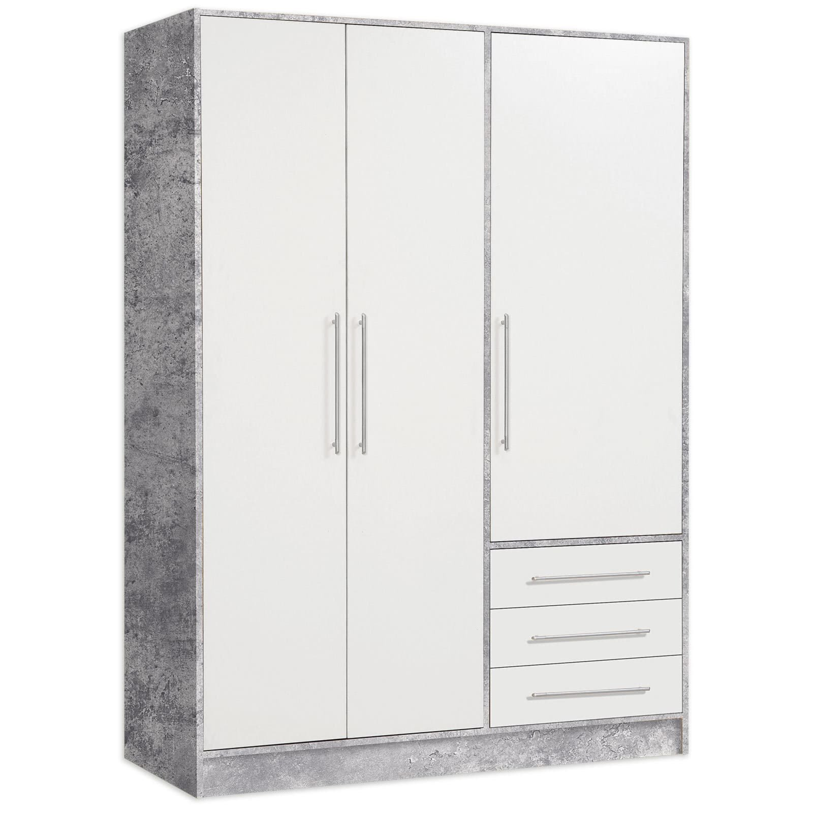 kleiderschrank jupiter betonoptik wei 145 cm dreht renschr nke kleiderschr nke. Black Bedroom Furniture Sets. Home Design Ideas