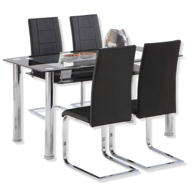 esstisch elisa - glasplatten - schwarz-chrom | esstische | sitzen, Esstisch ideennn
