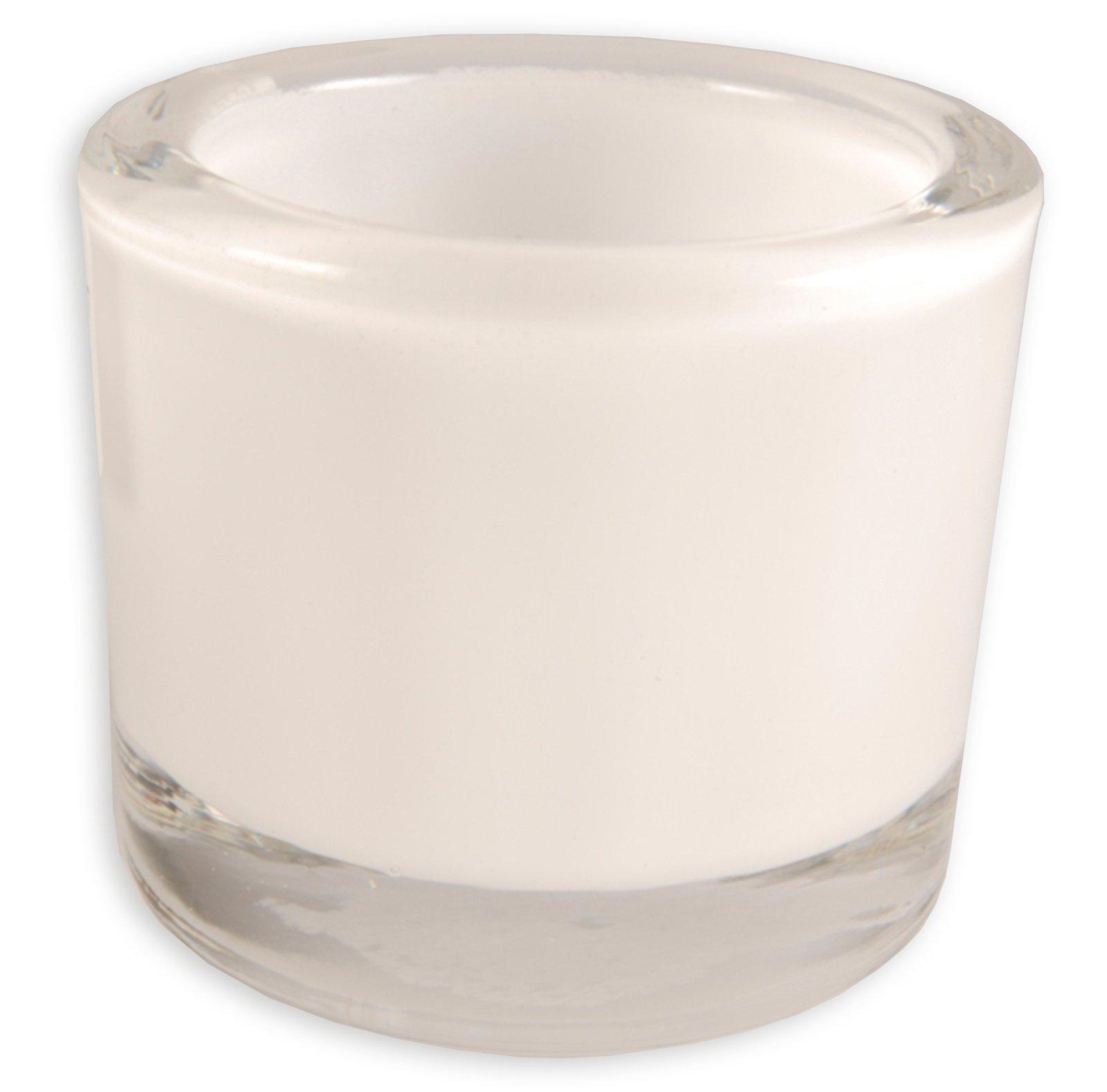 Teelichtglas - weiß - Ø 9 cm - 8 cm hoch