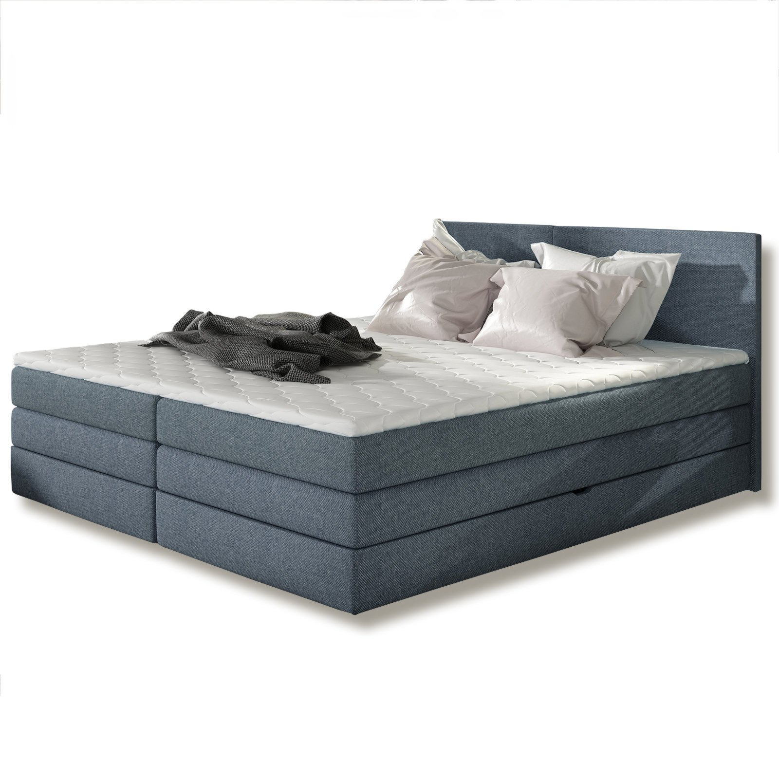boxspringbett hanza jeansblau h2 180x200 cm boxspringbetten betten m bel roller. Black Bedroom Furniture Sets. Home Design Ideas