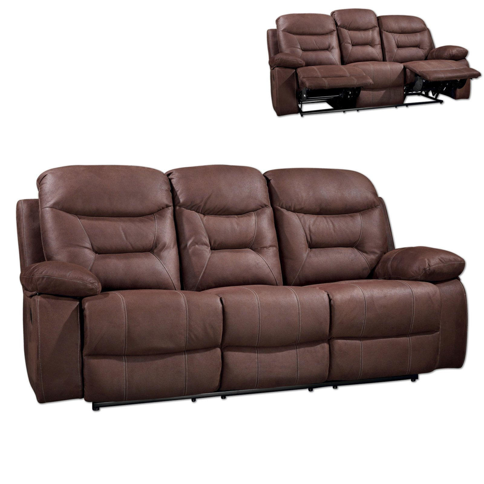 3 sitzer sofa braun relaxfunktion for 3 sitzer sofa mit relaxfunktion