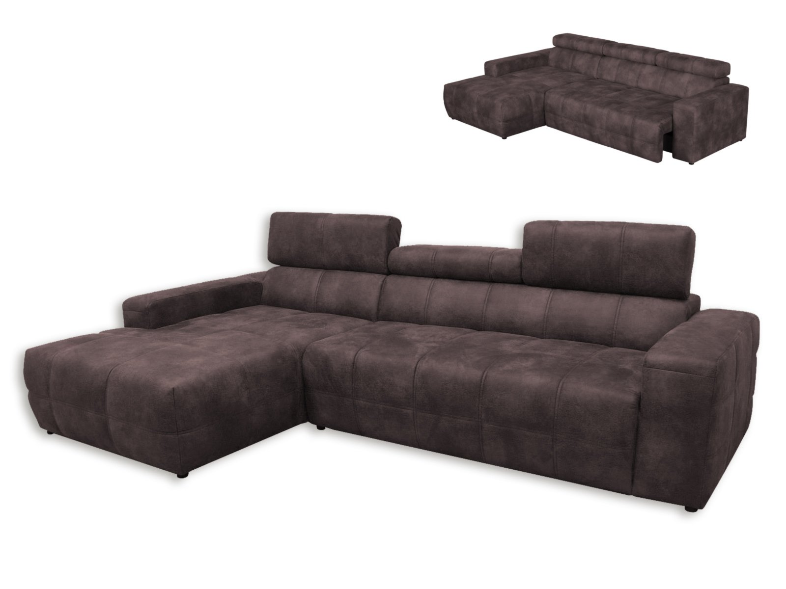 ecksofa dunkelbraun recamiere links mit kopfteil. Black Bedroom Furniture Sets. Home Design Ideas