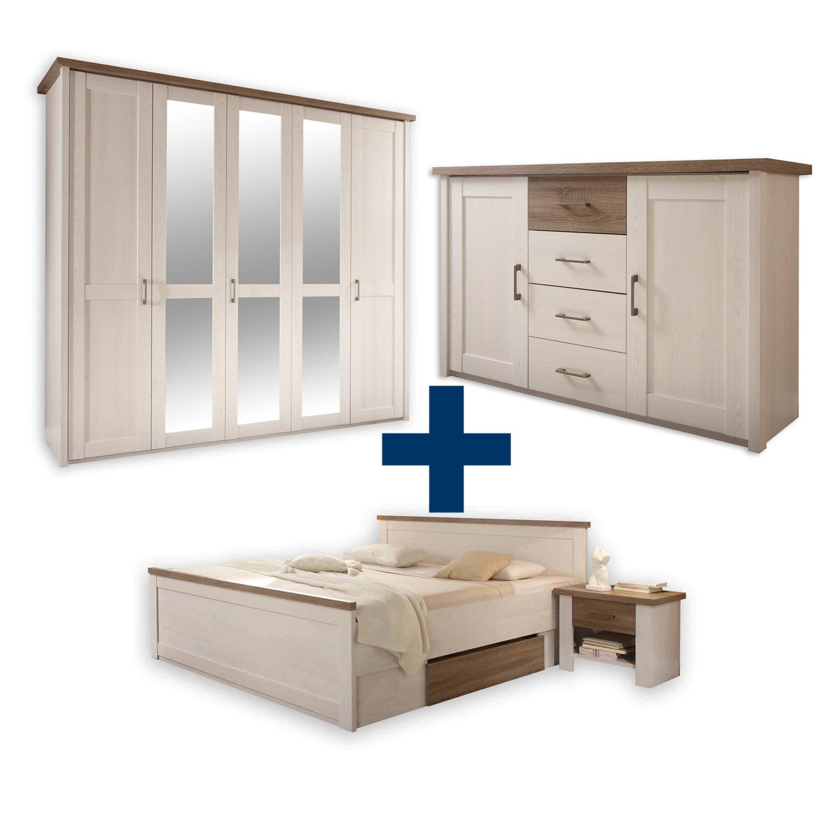 5-teiliges Schlafzimmer-Set LUCA - Pinie weiß-Trüffel | Online bei ...