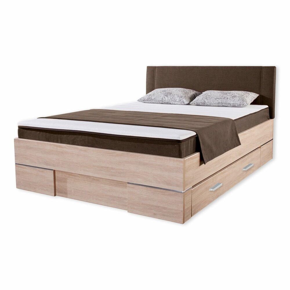 stauraumbett juist h2 sonoma eiche braun 140x200 cm betten mit matratze betten. Black Bedroom Furniture Sets. Home Design Ideas
