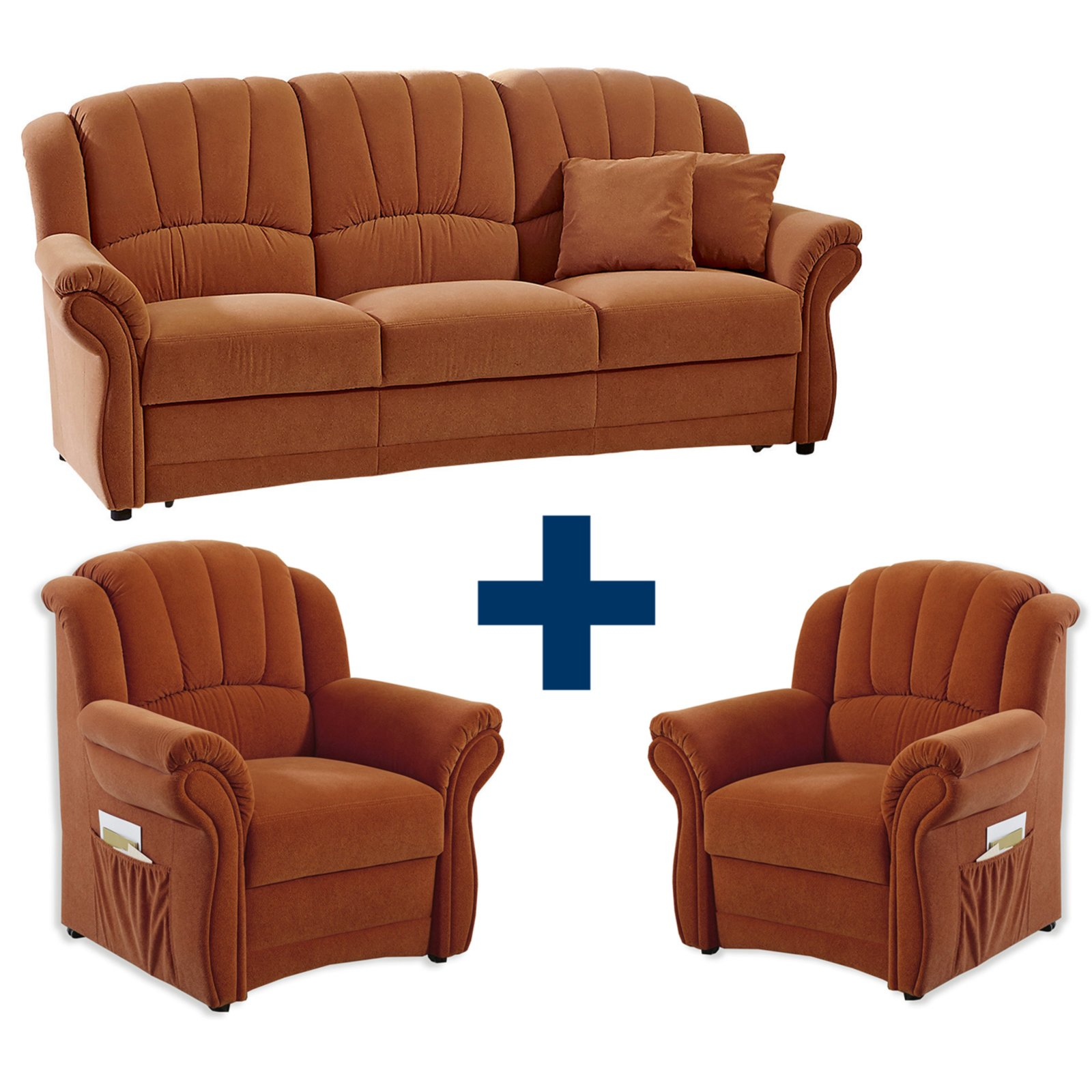 Polster Set In Feeling 2 Sessel Und 3 Sitzer Sofa Terra